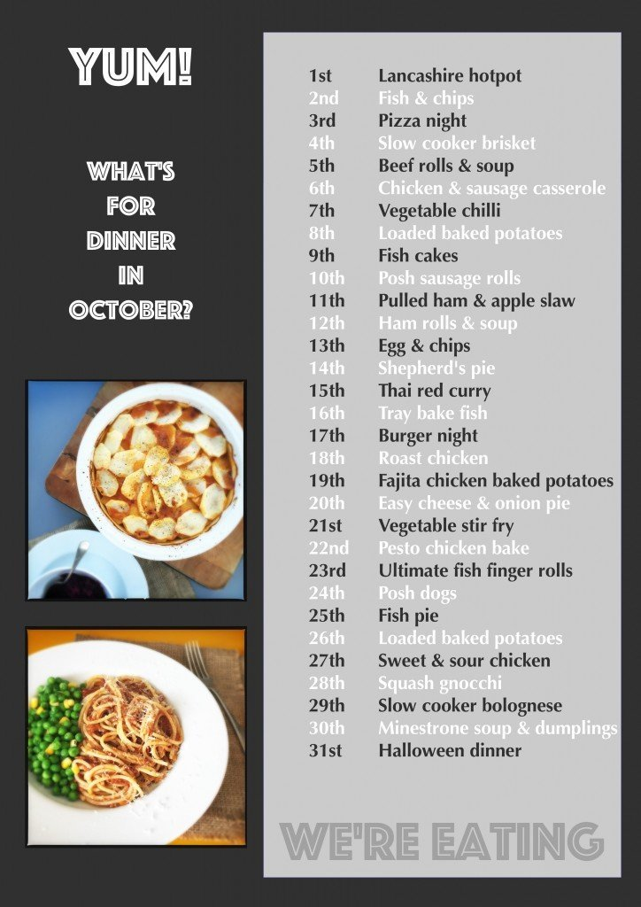 what's for dinner in October, october meal plan, october recipes, autumn family recipes, monthly meal plan, easy family food from daisies and pie