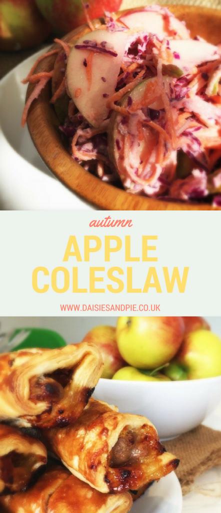 Autumn apple coleslaw recipe, delicious autumn side dish, apple recipes