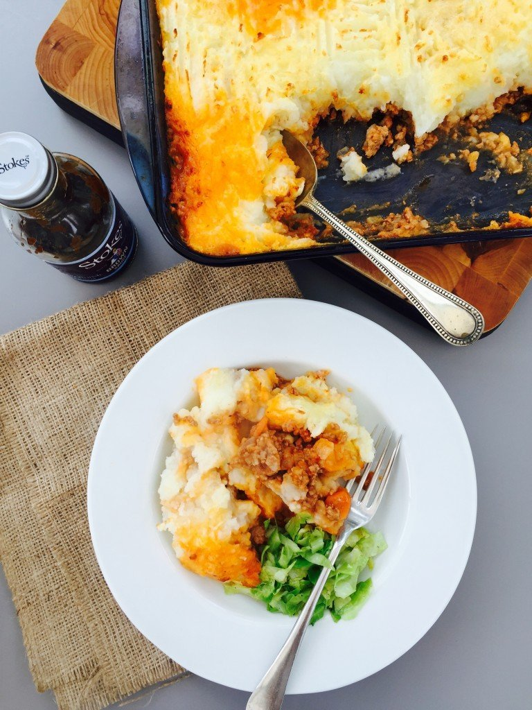 homemade shepherds pie with garlicky cabbage and Stokes brown sauce