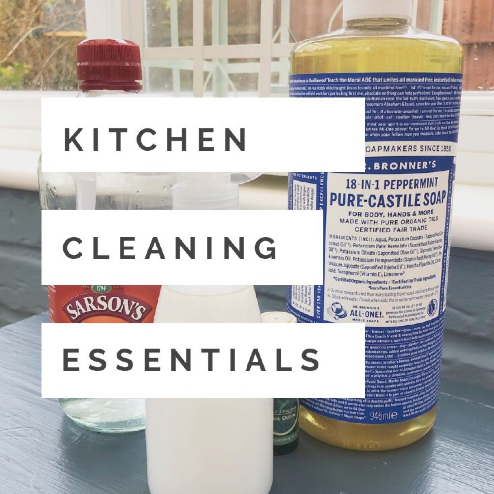 """pure castille soap, white vinegar and tea tree oil. Text overlay saying """"kitchen cleaning essentials"""""""