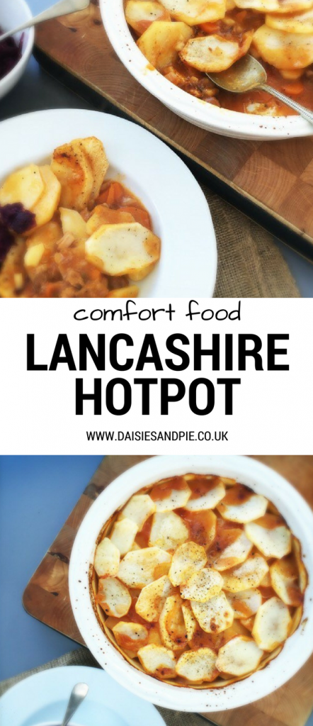 wooden board with a large dish of Lancashire hot pot, plate with a portion of hot pot served up and a side dish or pickled red cabbage. Text overlay saying comfort food Lancashire hotpot""