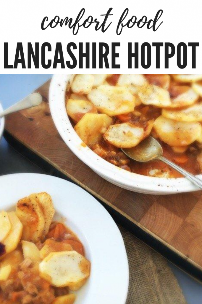 """Lancashire hotpot in a white oven dish being spooned into bowls with pickled red cabbage. Text overlay """"comfort food - lancashire hotpot"""""""
