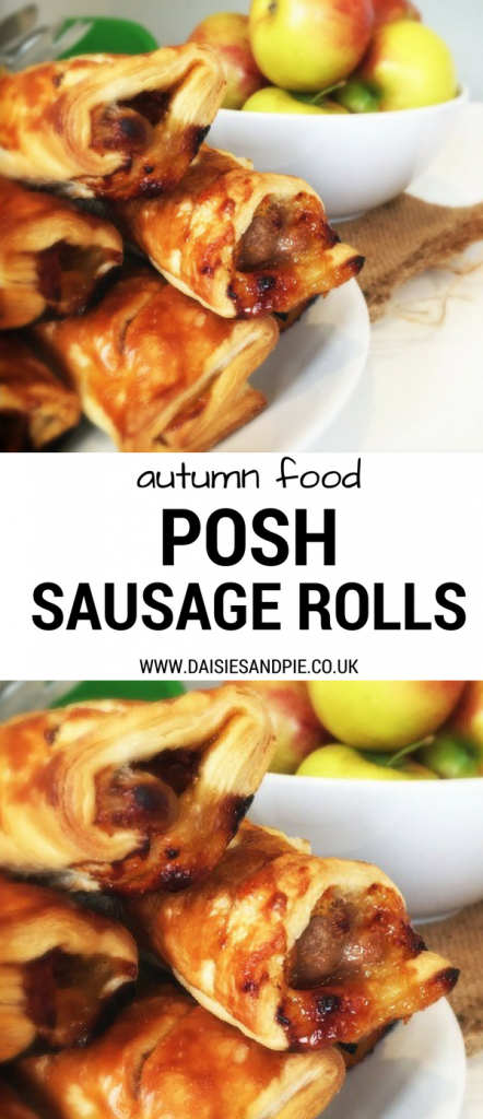 "white plate piled high with homemade sausage rolls with cheese and chutney, bowl of red apples to the side. Text overlay saying ""autumn food posh sausage rolls"""