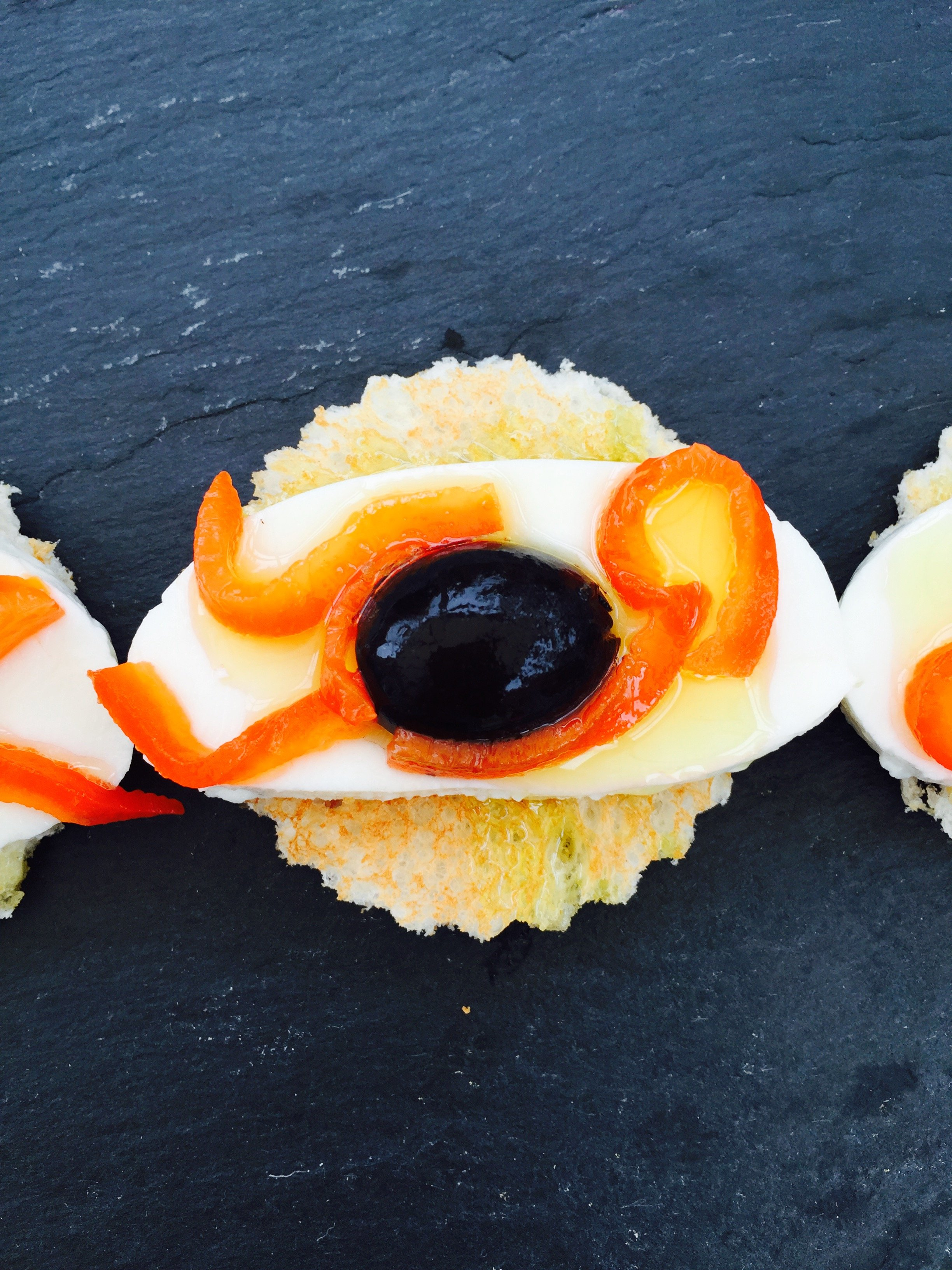Halloween eyeball bruschetta