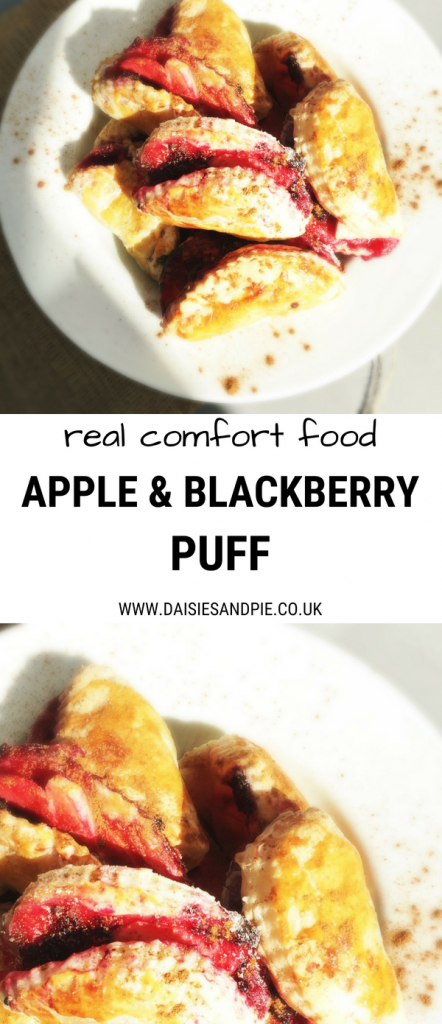 "plateful of homemade apple and blackberry puffs. Text overlay saying ""real comfort food apple and blackberry puff"""