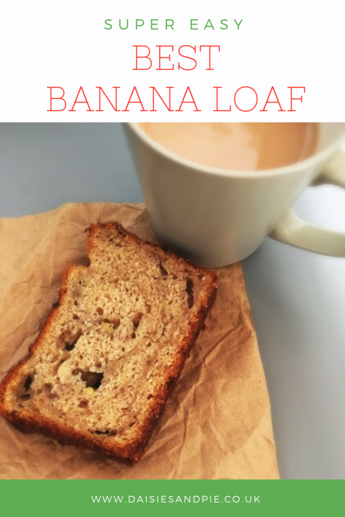 "slice of homemade banana loaf alongside a cup of tea. Text overlay saying ""best banana loaf"""