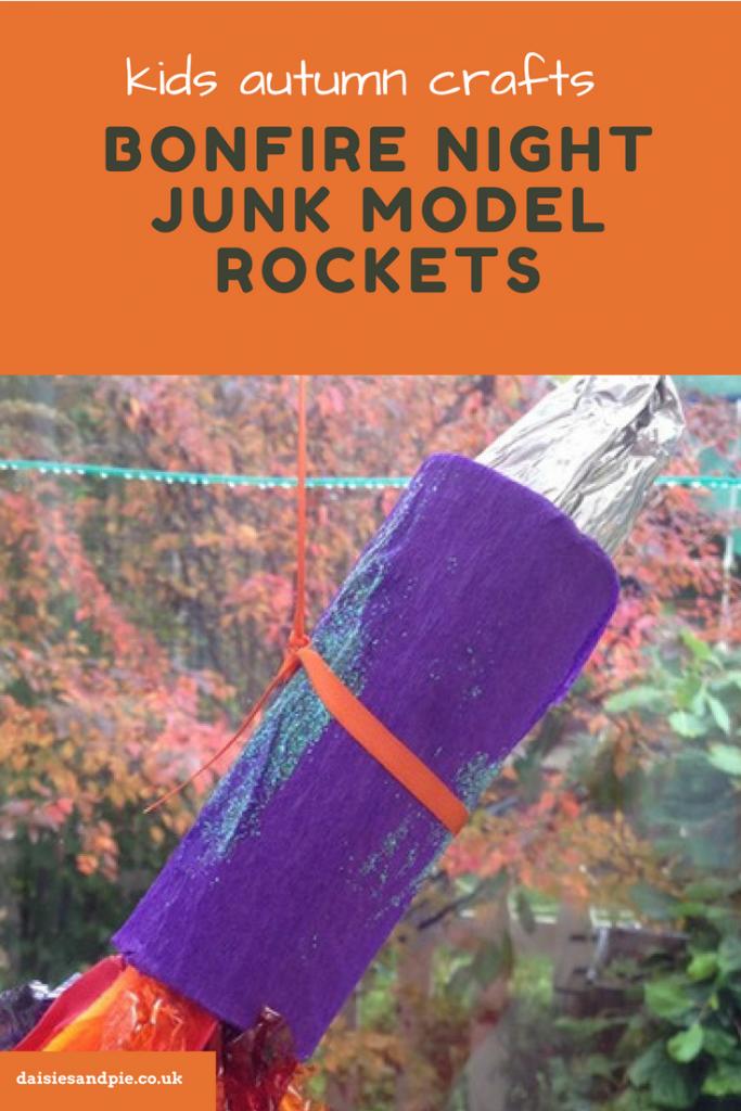 """junk mode rockets. Text overlay saying """"kids autumn crafts bonfire night junk model rockets"""""""