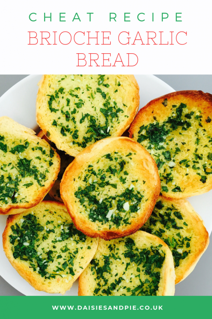 "easy garlic bread made using brioche rolls. Text ""cheat recipe brioche garlic bread"""