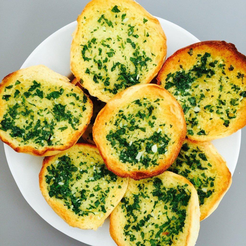 Homemade Garlic Bread with Brioche Rolls
