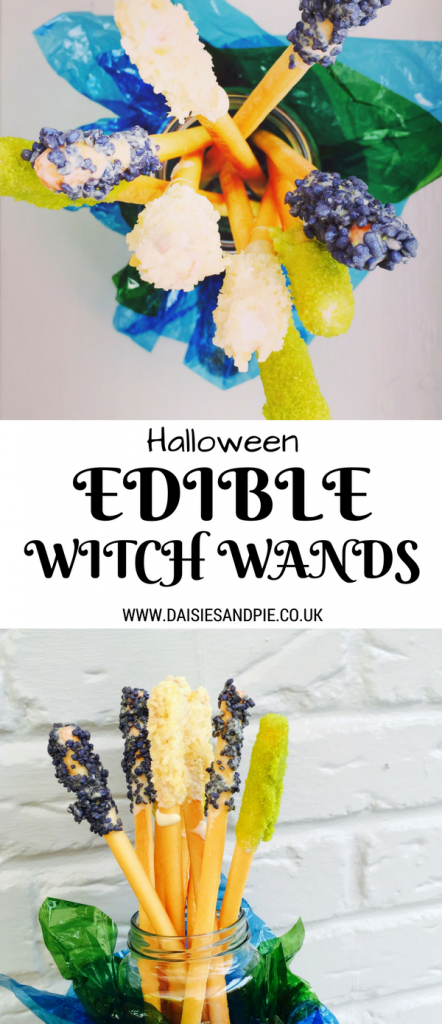 Halloween recipe for edible witch wands, easy halloween craft for kids, halloween party food ideas