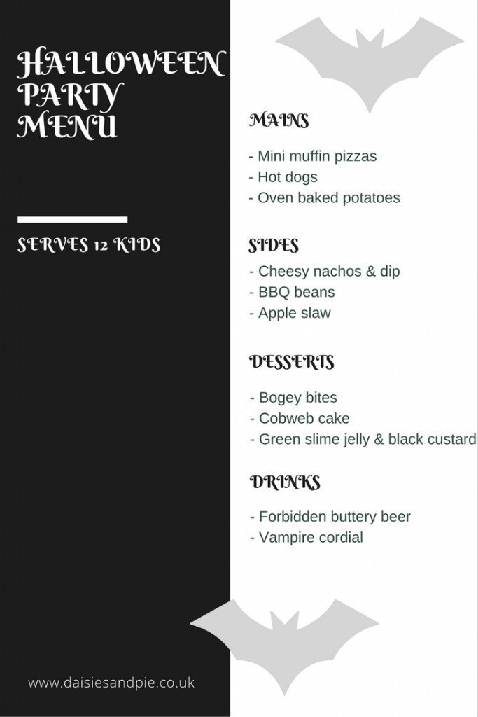 halloween party menu, kids halloween party food, halloween food for kids