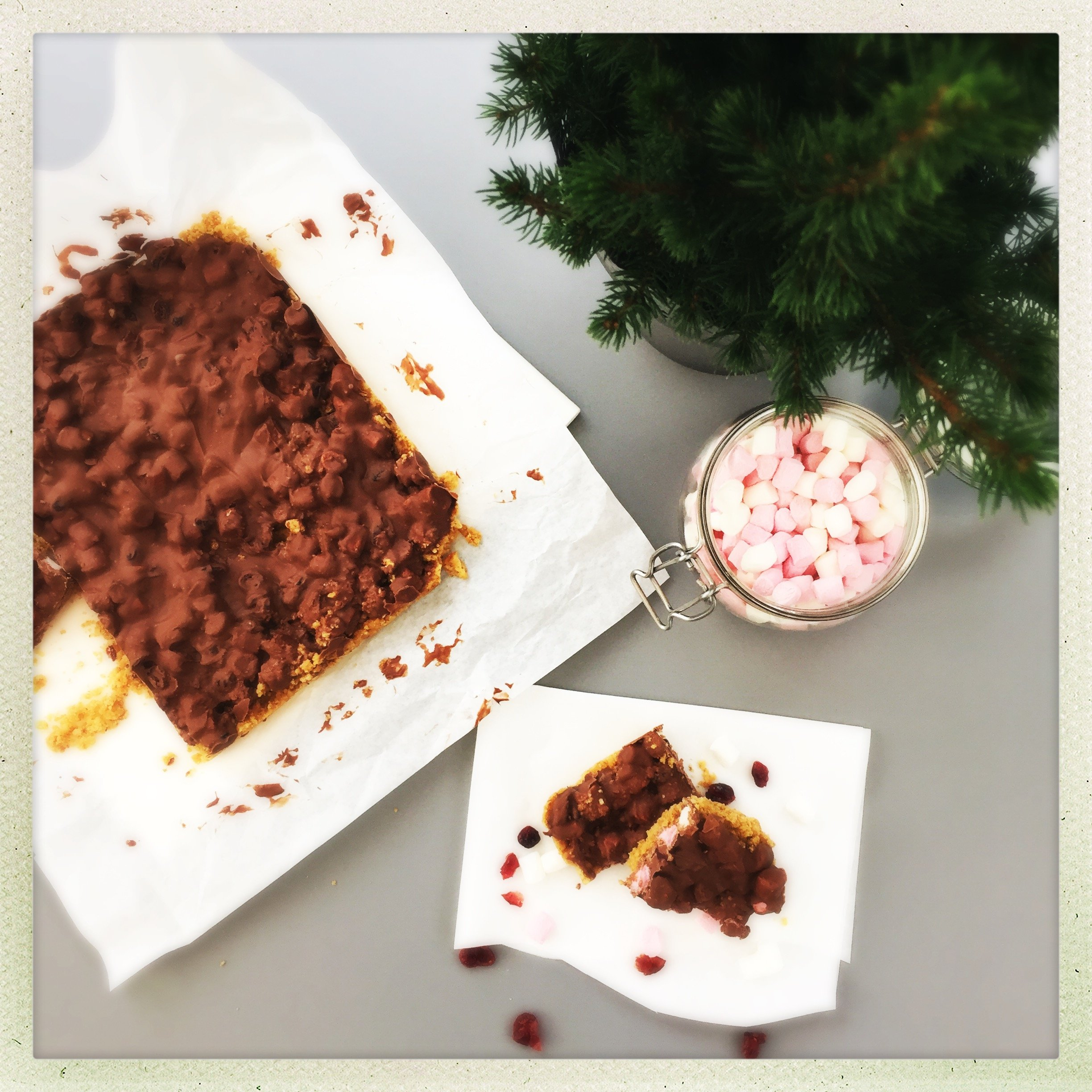 Orange and cranberry rocky roads
