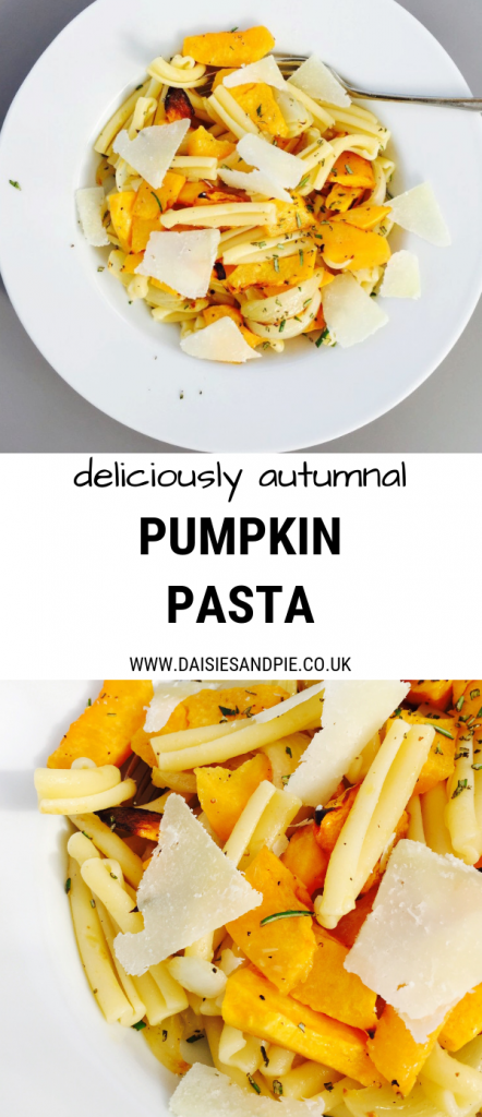 "plate of pumpkin pasta with parmesan shavings. Text overlay ""deliciously autumnal pumpkin pasta"""