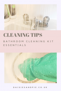"""green rubber gloves cleaning bathroom. Text overlay saying """" cleaning tips - bathroom cleaning kit essentials"""""""