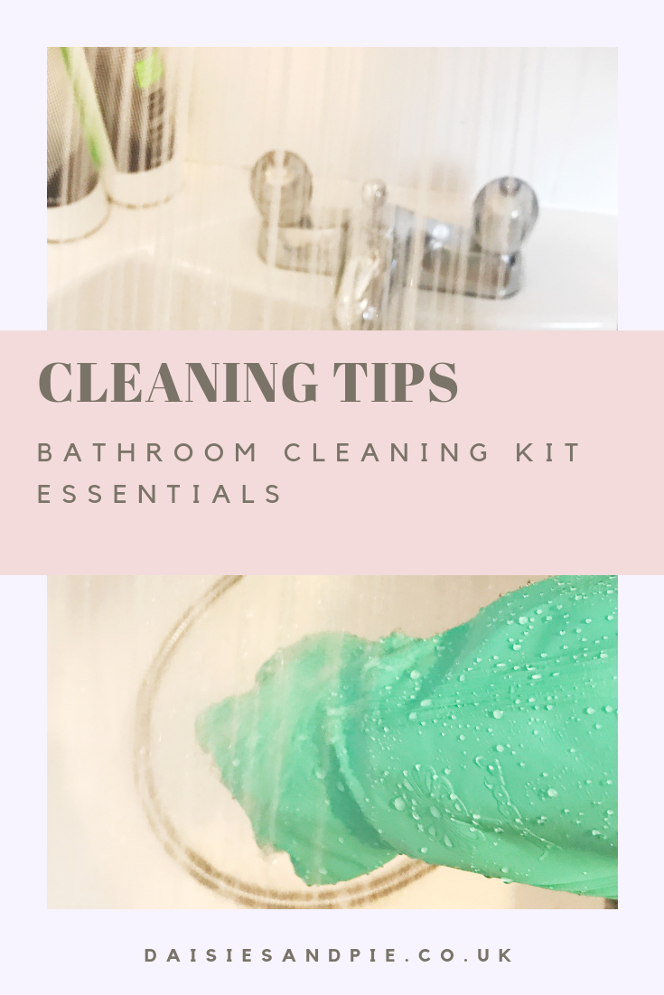 "green rubber gloves cleaning bathroom. Text overlay saying "" cleaning tips - bathroom cleaning kit essentials"""