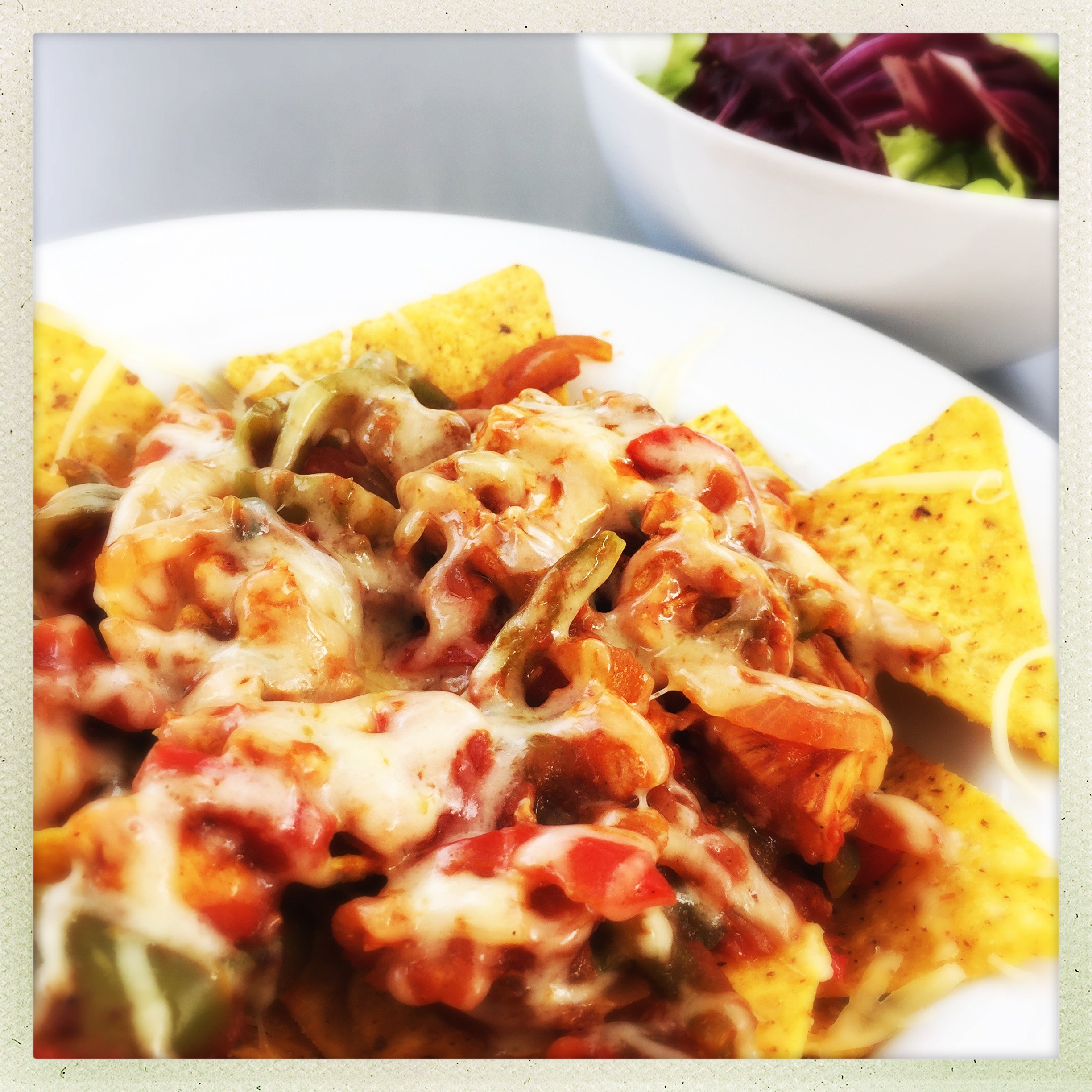 Loaded Nachos with Chilli Chicken and Cheese