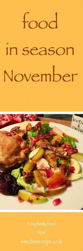 food in season uk november, november food in season, easy family food from daisies and pie