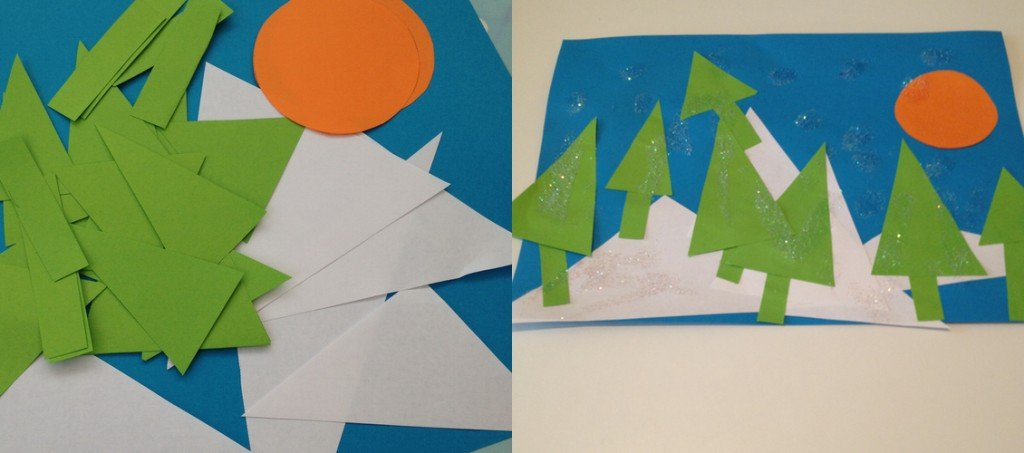 geometric snowscape collage, geometric activities for kids, maths art activities, winter crafts for kids