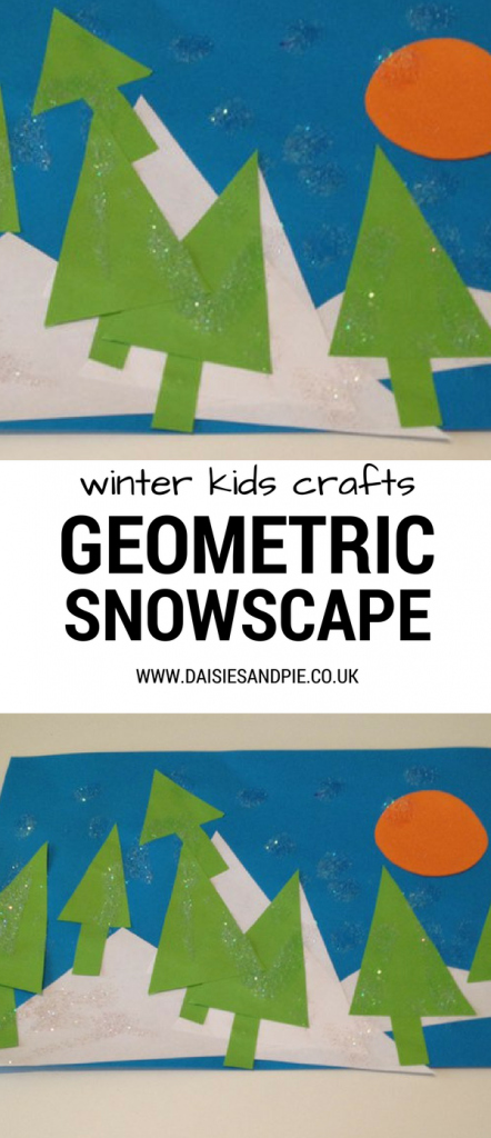 Lovely maths and art craft for preschool kids, geometric winter snowscape pictures, preschool winter crafts