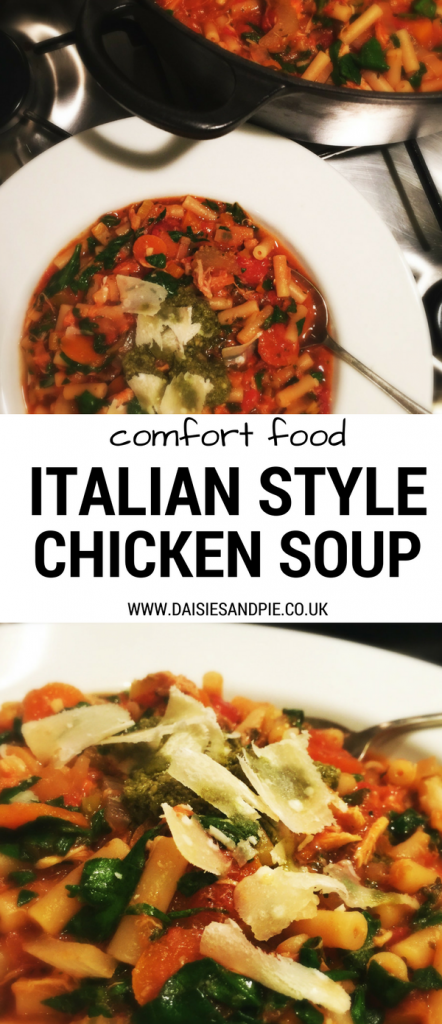 Cook up a dish of warming Italian chicken soup, proper comfort food perfect for cold autumn days, healthy soup recipe