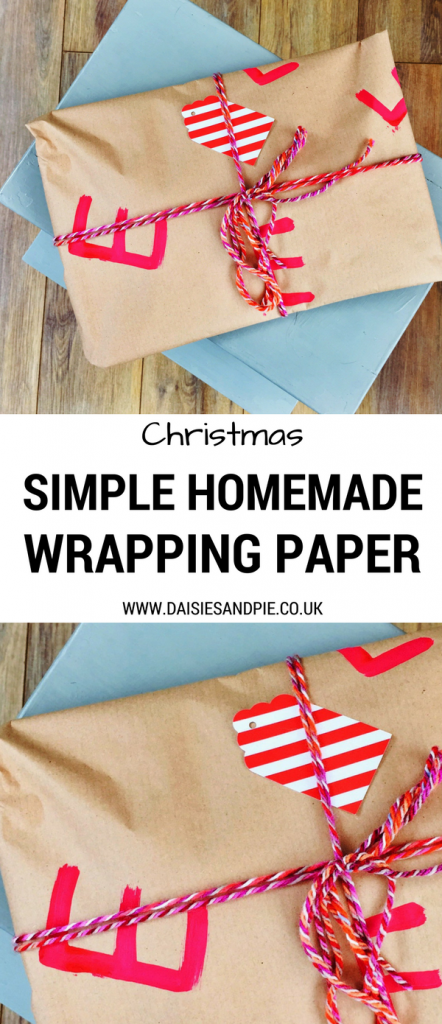 Super simple homemade Christmas gift wrap, easy Christmas craft, Christmas gift wrap ideas