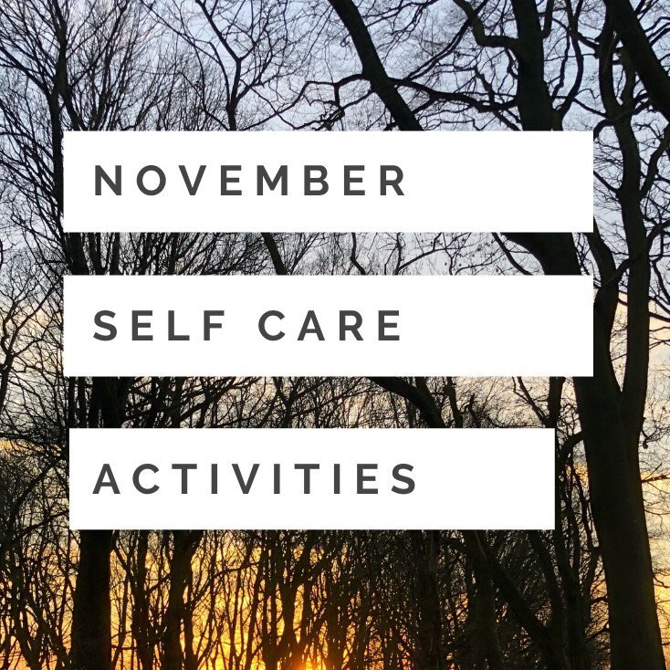 "beautiful wintery woodland trees with the sun setting behind them. Text ""November self care activities"""