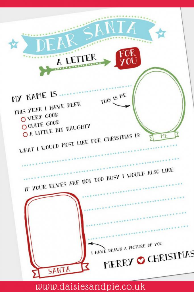 Super cute free Christmas printable letter to Santa, kids Christmas activities