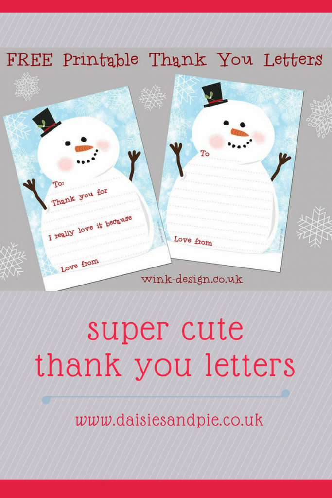 Super cute free printable Christmas thank you letters perfect for kids to send to thank for Christmas gifts