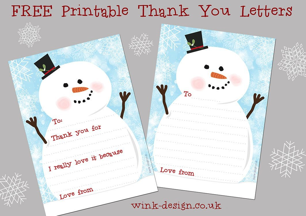 snowman thank you letters, christmas thank you letters, free printable ...