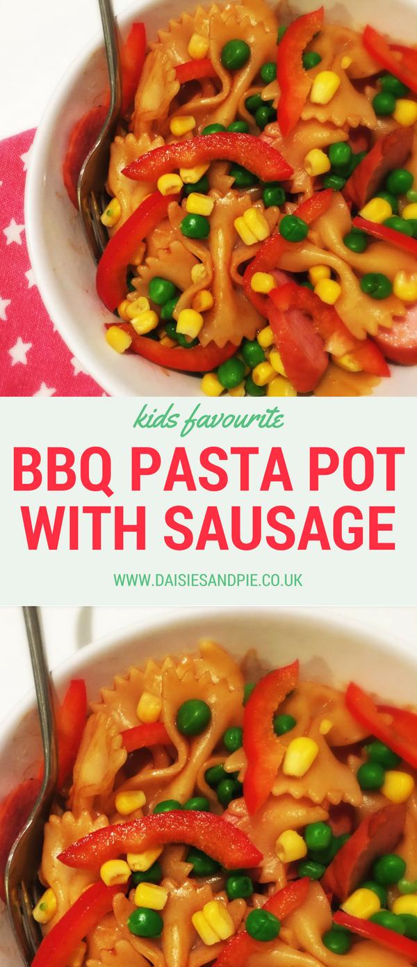 BBQ pasta pot with sausages, kids pasta recipe, easy kids dinner ideas,