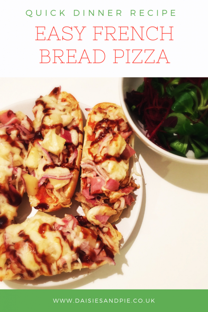 "plate of homemade french bread pizzas. Text overlay saying ""quick dinner recipe - easy French bread pizza"""