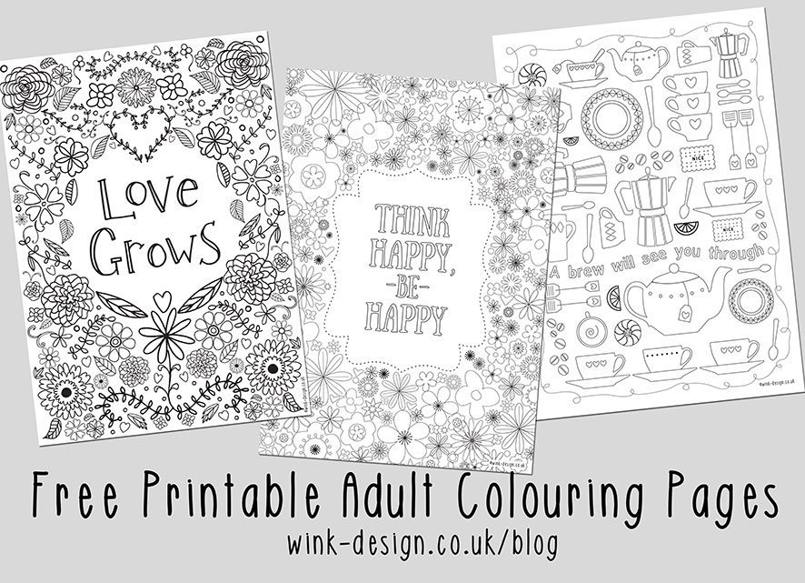 Three colouring sheets for adults with floral design, kitchen utensils and inspirational quotations