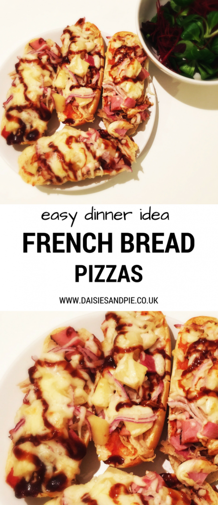 "white plate holding four homemade french bread pizzas topped with BBQ sauce, ham, pineapples and mozzarella. Bowl of green salad to the side. Text overlay saying ""easy dinner idea French bread pizzas, www.daisiesandpie.co.uk"""