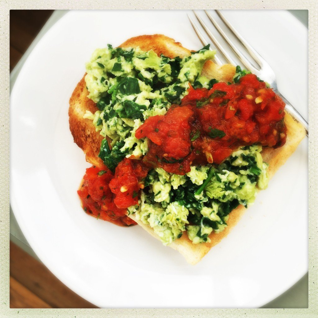 green eggs on toast, scrambled eggs with spinach, eggs with mexican salsa