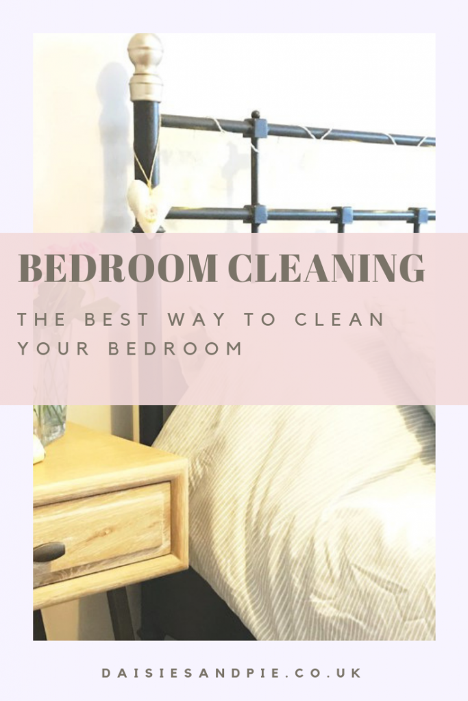 "clean and tidy bedroom. Text ""bedroom cleaning - the best way to clean your bedroom"""