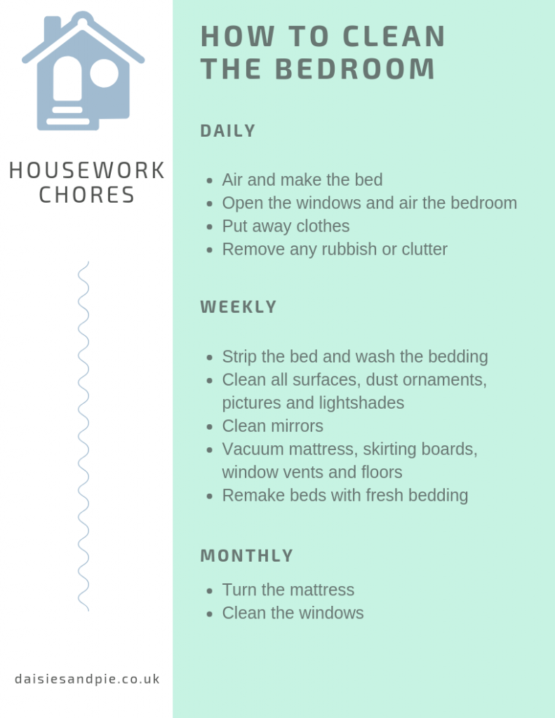 how to clean the bedroom checklist printable