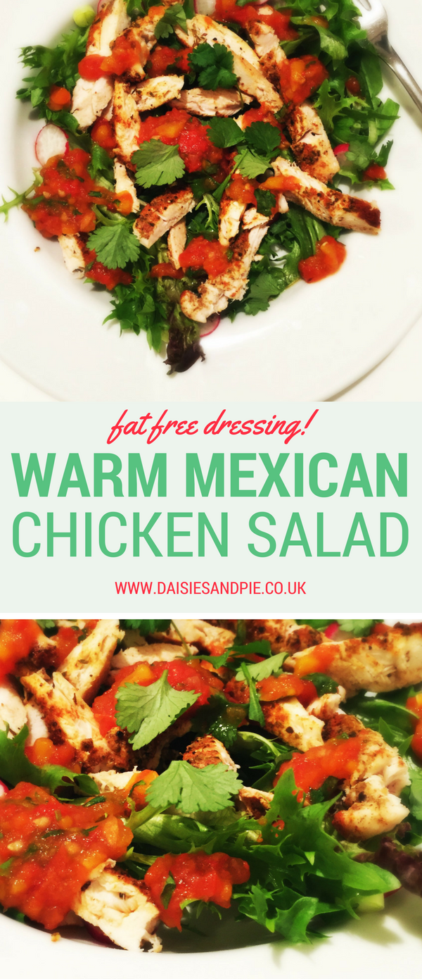 Warm Mexican Chicken Salad with Fat Free Dressing, Mexican chicken, healthy dinner recipe, summer dinner recipe