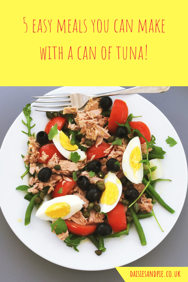 homemade tuna nicoise salad canned tuna salad recipe. Text overlay saying 5 easy meals you can make with a can of tuna fish