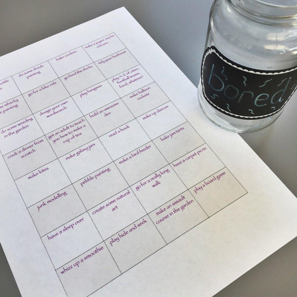 Half term bored jar