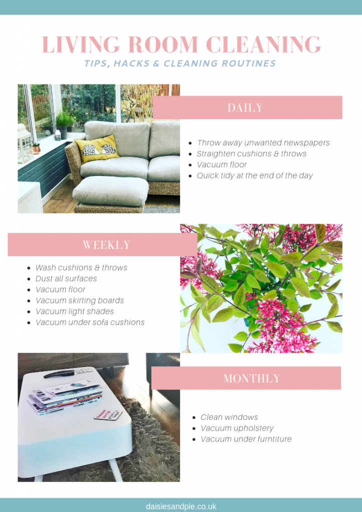 clean the living room - daily, weekly and monthly chores printable