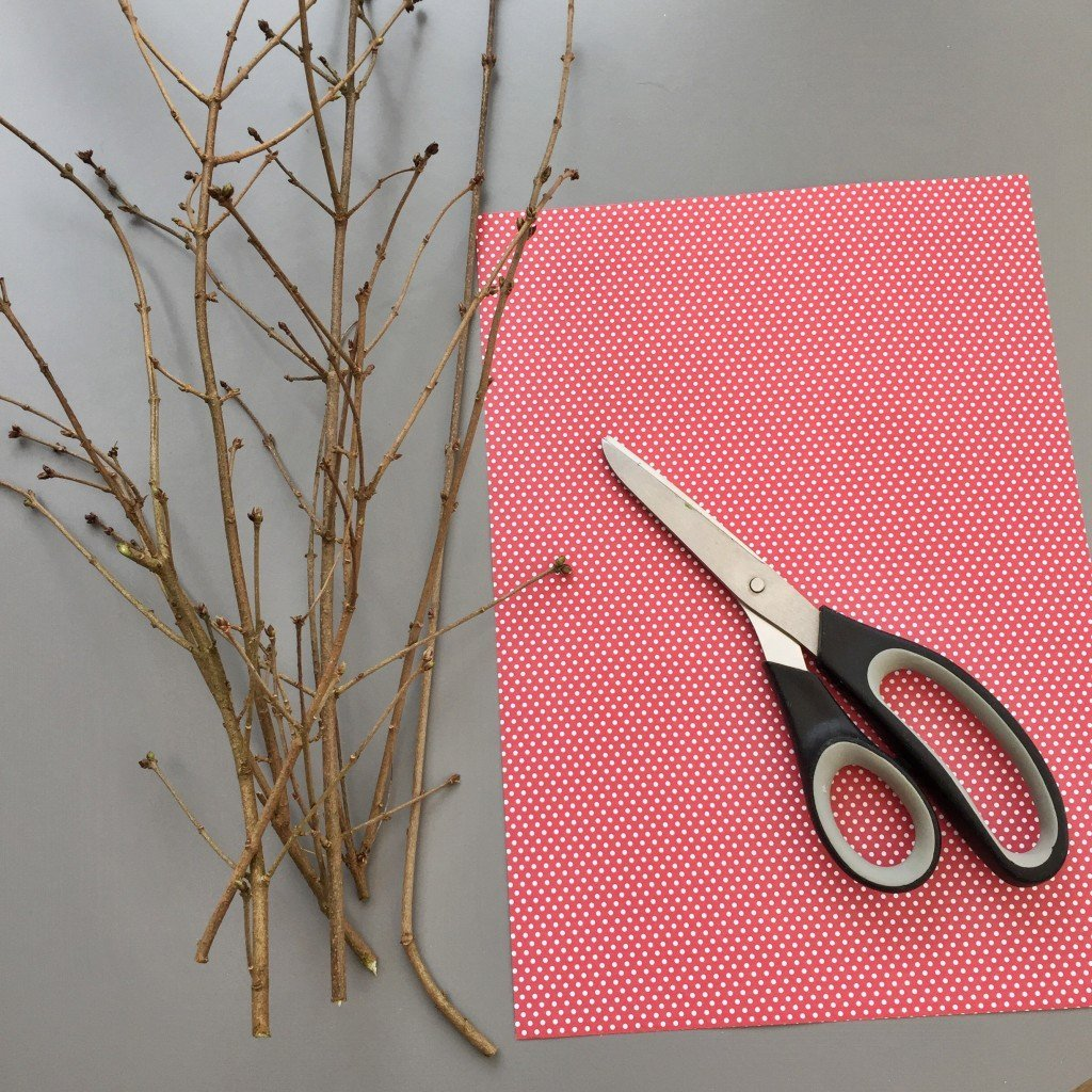 bunch of twigs, red and whit dotty paper and pair of scissors on a grey table