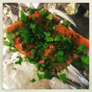 salmon and herb baked parcels