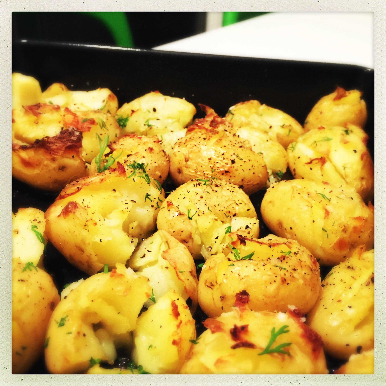 Smashed baby roast potatoes