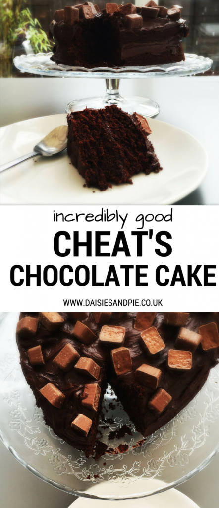 Incredibly good Cheat's Chocolate Cake, cheat your way to an amazingly good cake in no time, fluffy chocolate cake topped with rich fudge icing and chocolate bites