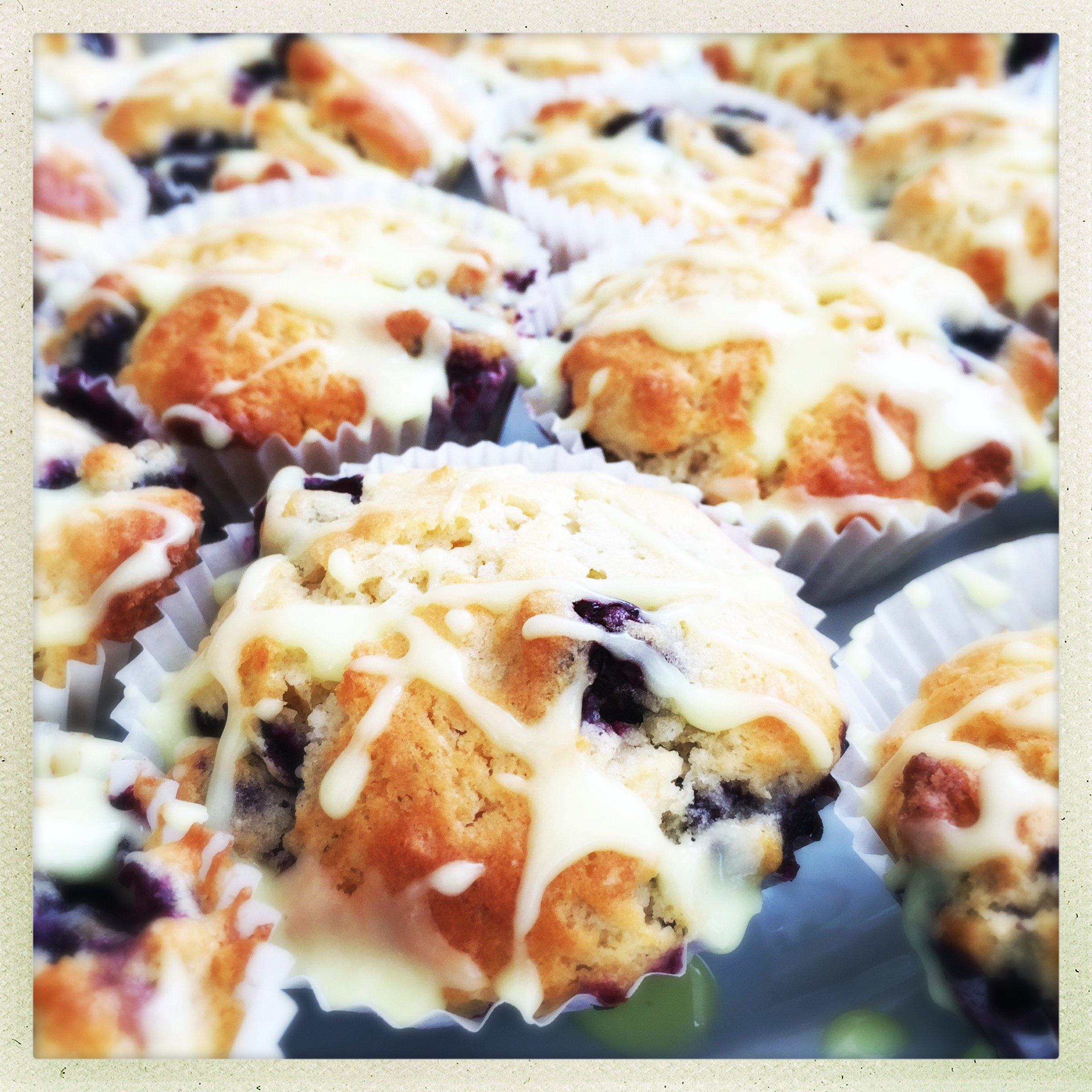 Mini blueberry muffins with lemon icing
