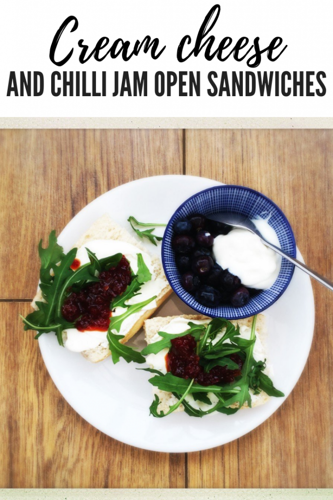 cream cheese and chilli jam open sandwich recipe, gourmet vegetarian sandwich recipes, open sandwich recipes, cream cheese sandwich recipes, french sandwich recipes, easy family food from daisies and pie. text overlay reads 'cream cheese and chilli jam open sandwiches'