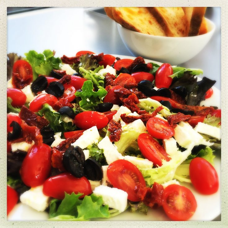 tomato and feta salad, quick salad recipe, easy family food from daisies and pie