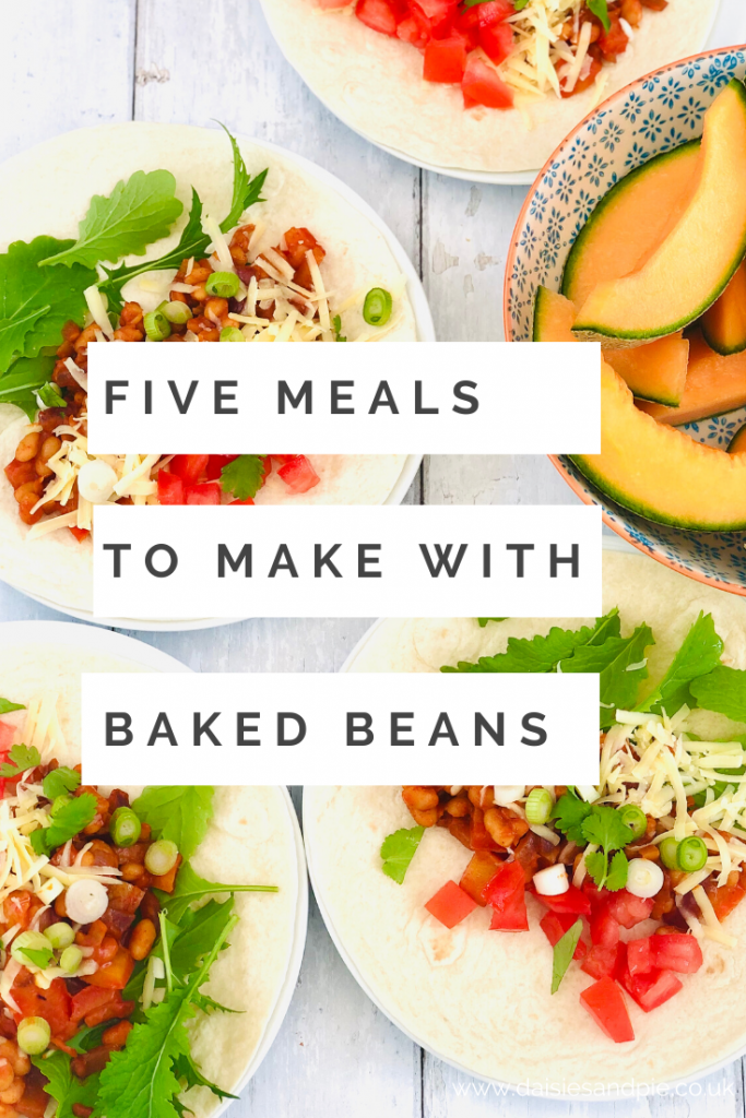 "baked bean fajitas with salad and grated cheese. Text ""five meals to make with baked beans"""