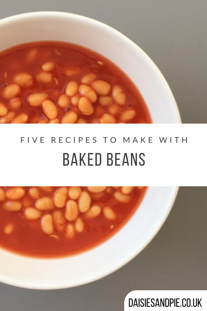 "white bowl of baked beans. Text ""five recipes to make with baked beans"""