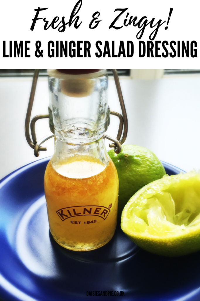 """lime and ginger salad dressing in a small kilner glass bottle next to a sliced lime. Text overlay reads """"fresh and zesty lime and ginger salad dressing"""""""
